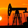 An oil pump jack is silhouetted by the setting sun — Stock Photo