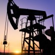 An oil pump jack is silhouetted by the setting sun — Stock Photo #11650471