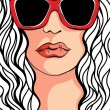 Fashion illustration of a girl in sunglasses — Stock Vector