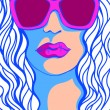 Pop Art Woman in sunglasses. Fashion illustration — Stock Vector