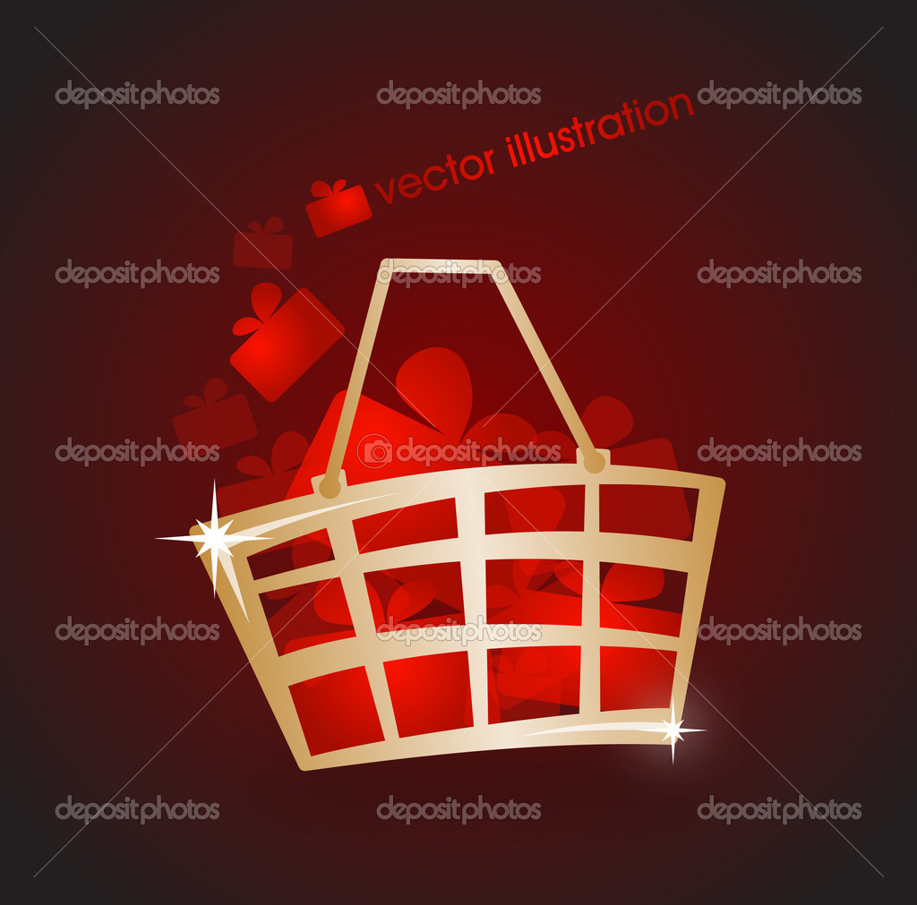 Gold market basket filled with red gifts. Vector illustration   Stock Vector #11448973