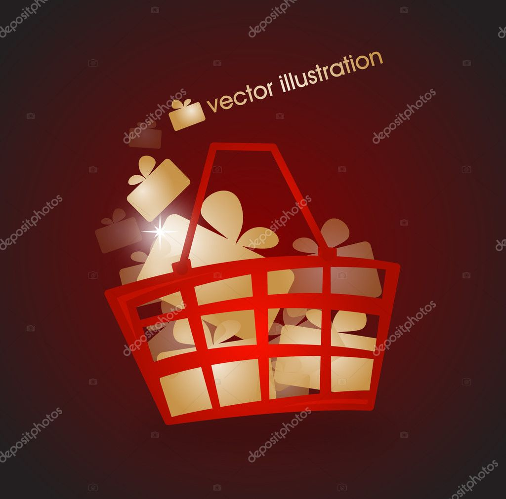 Shopping basket filled with gold gifts  — Stock Vector #11448988