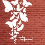Wall background. Butterflies grunge art vector design — Stock Vector