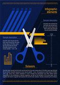 Prvky infografika s nůžkami — Stock vektor