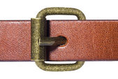 Macro of belt with gold buckle — Stock Photo