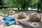Laying Turf in the city park — Stock Photo