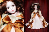 Collage classical ceramic doll — Stock Photo