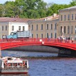 Stock Photo: Red bridge in St. Petersburg