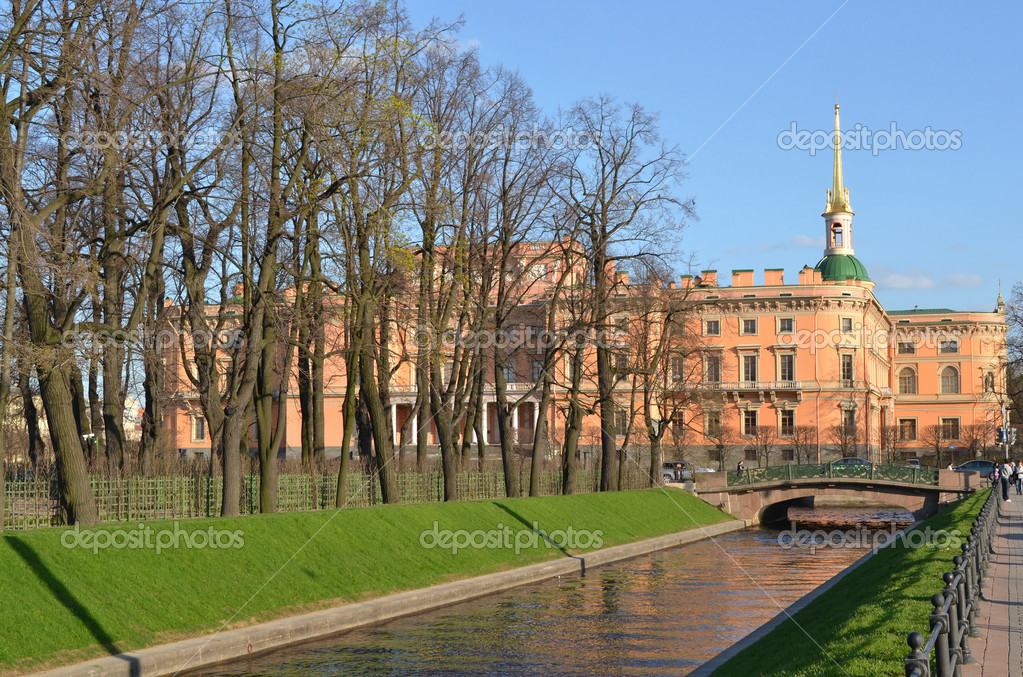 Mikhailovsky castle and Summer Garden in Saint-Petersburg in spring, Russia  Stock Photo #11546969