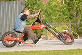 Cyclist on the original bike — Stock Photo