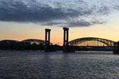 Neva river and Finnish railway bridge at sunset — Stock Photo