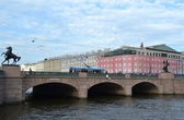 Anichkov bridge and Fontanka river — Stock Photo