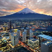 Surreal view of Yokohama city and Mt. Fuji — Stock Photo