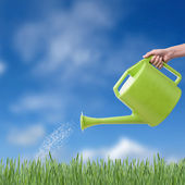 Human hand with green watering pot watering green grass — Stock Photo
