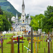 Stock Photo: View of cathedral in Lourdes