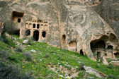 Old greek church and caves in Turkey — Stock Photo