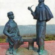 Постер, плакат: Monument to Sherlock Holmes and dr Watson Moscow