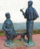 Monument to Sherlock Holmes and dr. Watson, Moscow — Stock Photo