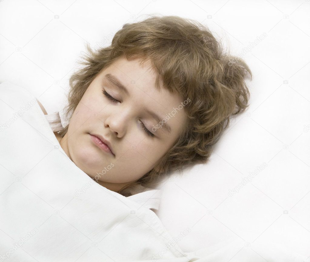 Little boy (European) sleeping in bed, head only. — Stock Photo #10744833