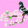 Bird on branch with white flowers on pink background — Stock Photo #11123763