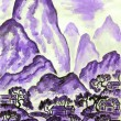 Landscape with violet mountains, painting — Stok fotoğraf
