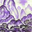 Landscape with violet mountains, painting — ストック写真