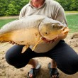 Huge freshwater carp caught on a bite. — Stock Photo