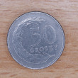 Close up of polish currency - 50 groszy coin — Stock Photo #12365816