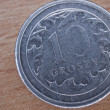 Close up of polish currency - 10 groszy coin — Stock Photo