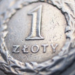 Close up of polish currency - 1 zloty coin — Stock Photo #12365930