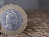 Close up of british currency - 2 pounds coin — Stock Photo