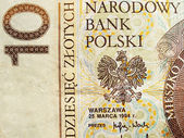 Close up of polish currency - 10 zloty note — Stock Photo