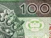 Close up of polish currency - 100 zloty note — Stock Photo