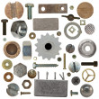 Collection old screw heads, gears, old meta, bolts, steel nuts,old metal nail, isolated on white background — Stock Photo