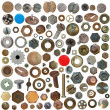 Big collection old rusty Screw heads, bolts, steel nuts, old metal nail, push pins — Stock Photo #10762935