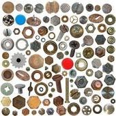 Big collection old rusty Screw heads, bolts, steel nuts, old metal nail, push pins — Stock Photo