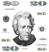 Photo twenty 20 dollar $ bill elements isolated on white background — Stock Photo