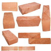 Set old red brick isolated on white background — Stock Photo