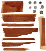 Collection pieces of broken planks of beech and Screw heads — Stock Photo