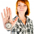 Stock Photo: Womwith clock