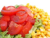 Fresh salad with tomato and corn — Stock Photo