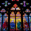 Stained glass windows at cathedral in Prague - Stock Photo