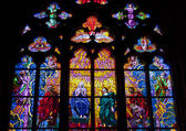 Stained glass windows at cathedral in Prague — Stock Photo
