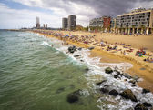 A view of Barceloneta Beach in Barcelona, Spain — Stock Photo
