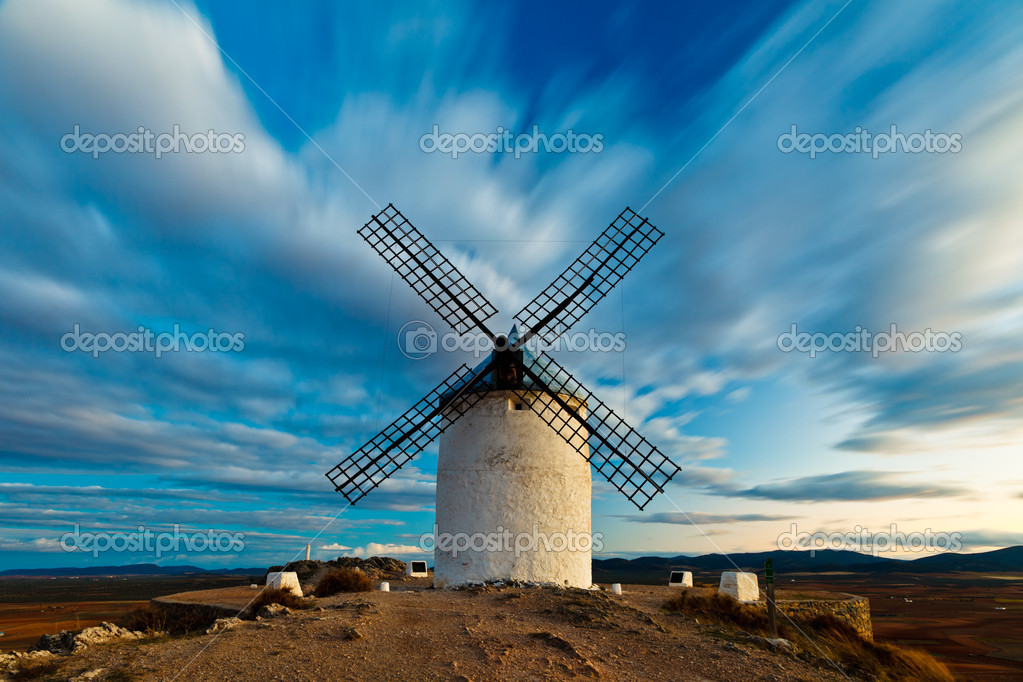 Typical windmills of  Region of Castilla la Mancha  Stock Photo #12171781