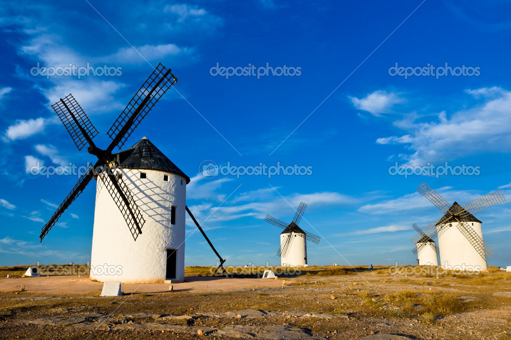 Typical windmills of  Region of Castilla la Mancha  Stock Photo #12171818