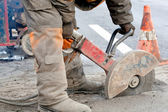 Upgrading road surfaces during repairing works — Stock Photo