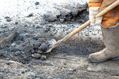 Pothole repairing works — Stock Photo