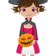 Stock Vector: Brunette witch