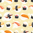 Seamless Pattern wihh different sushi — Stock Vector